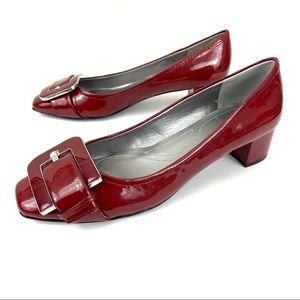 Tahari Gracie Red Patent Buckle Block Heel Pump